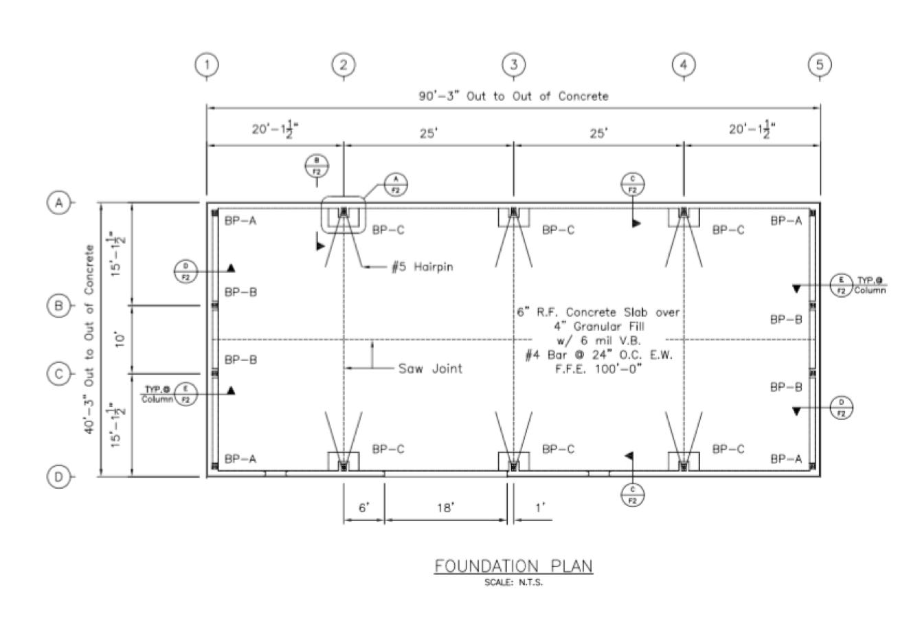 40 90 metal building foundation design qe engineering for House foundation plan